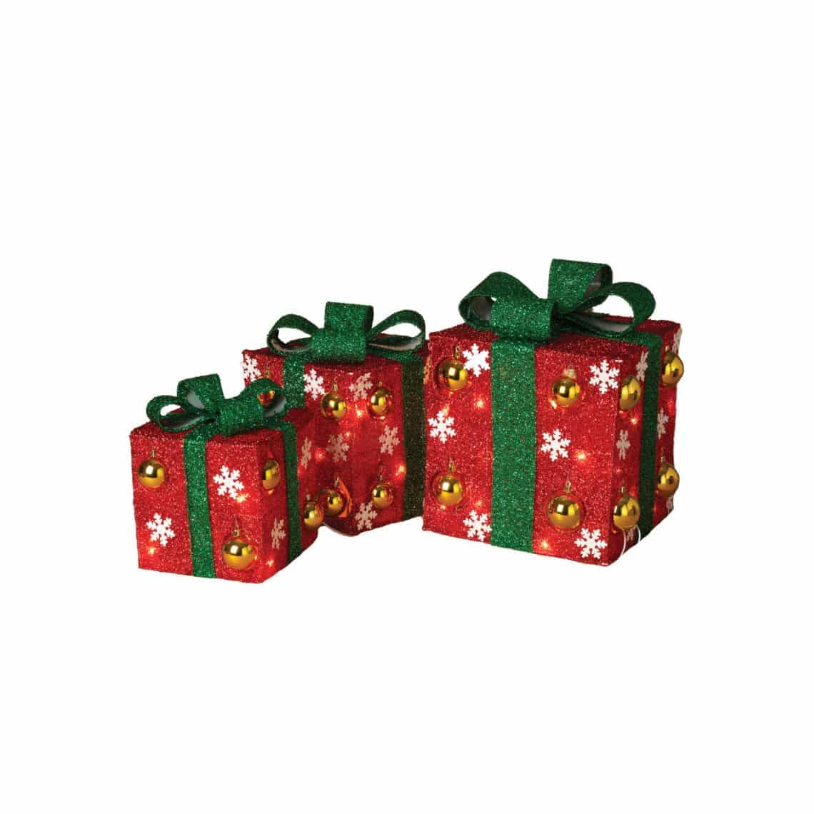 Electric Red Outdoor Gift Boxes with Green Bow and Ornament Accents ...