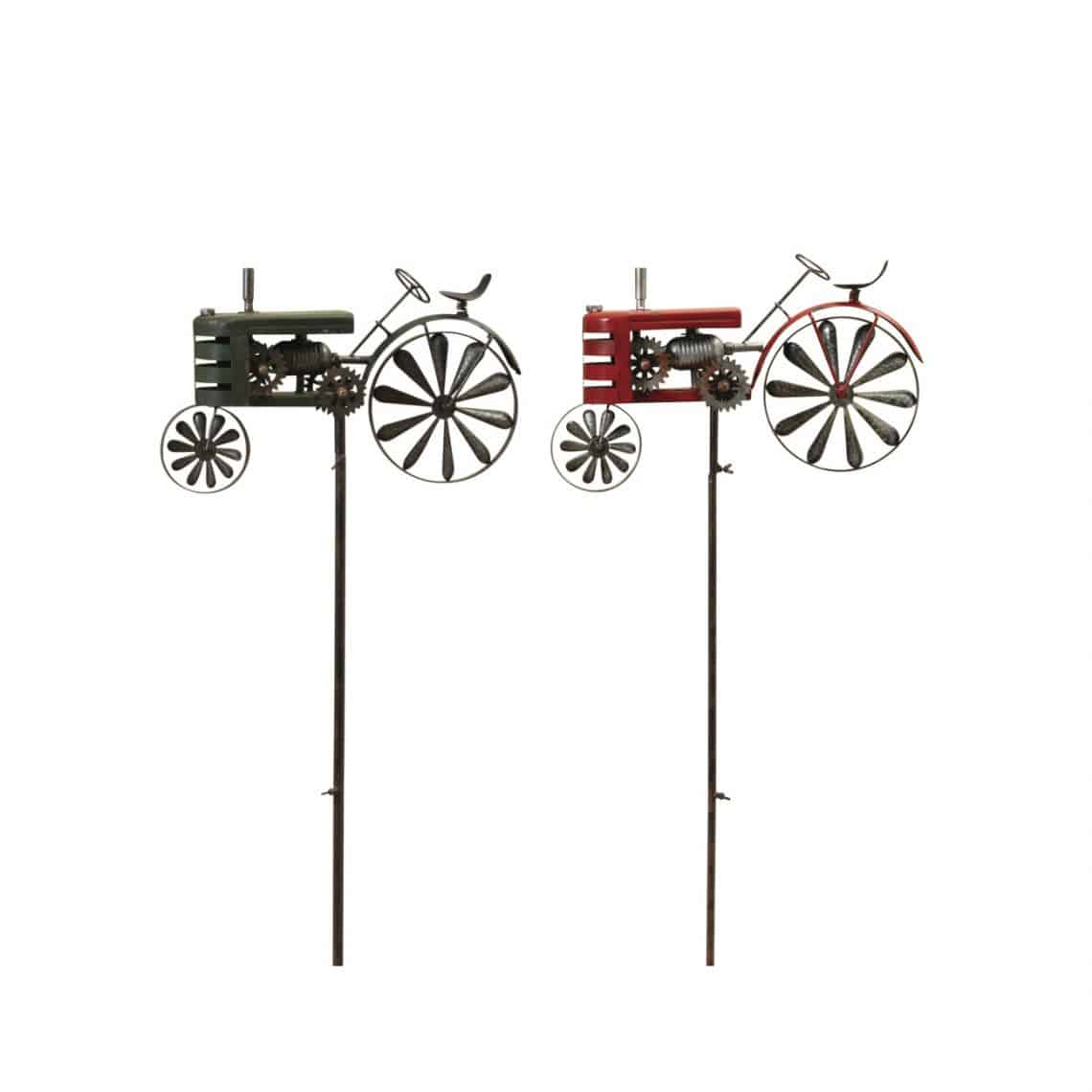 63 Inch Tall Antique Style Metal Tractor Wind Spinner Yard Stakes Set 2 on waterproof outlet