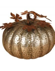 fallharvest decor 135 inch hammered antique silver metal pumpkin 4999 - Harvest Decor