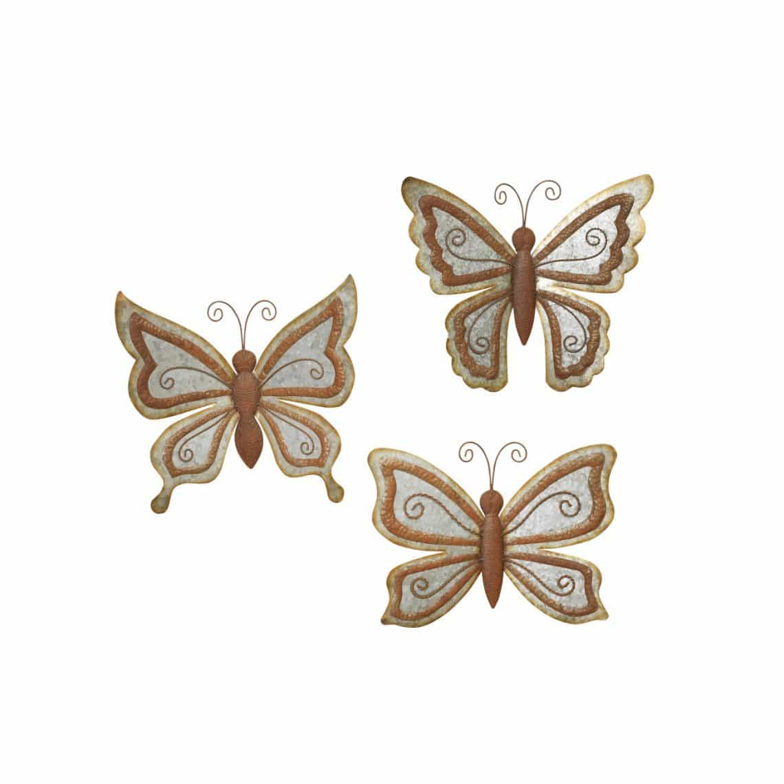 Exceptional Assorted Antique Galvanized Butterfly Wall Decorations (Set ...
