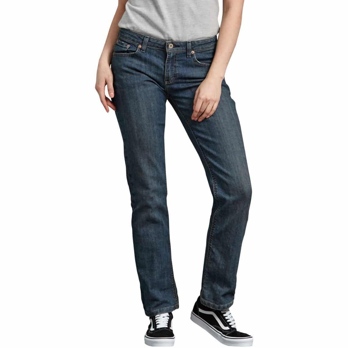 7365a9b40 DICKIES WOMEN S RELAXED STRAIGHT LEG DENIM JEANS - ANTIQUE DARK BLUE ...