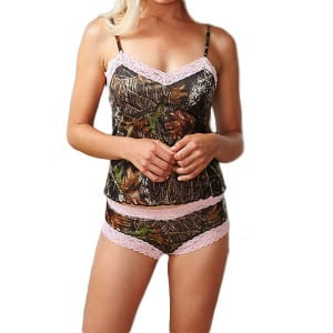 Camo Camisole Pink Lace Trimmed