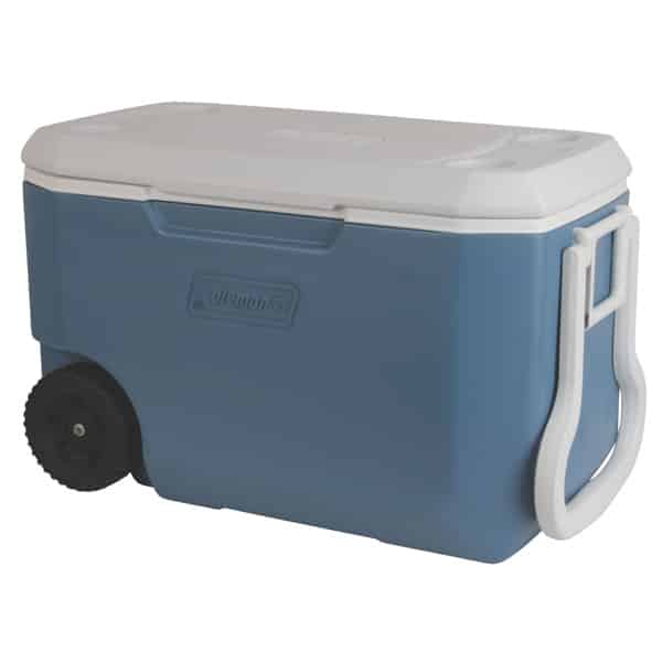 Coleman xtreme 5 wheeled cooler 62qt holds 95 cans for Motor cooler on wheels